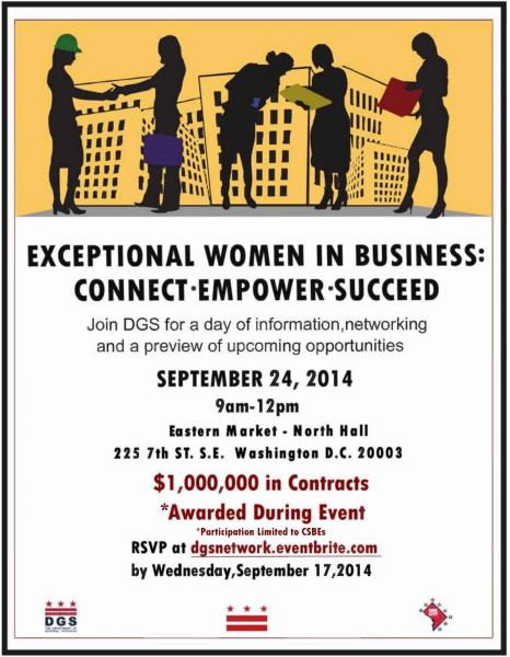 Exceptional Women in Business Outreach Event Flyer - September 24, 2014 (9 am to 12 pm) - Download an accessible version, below.
