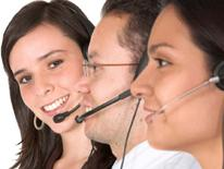 photo of people on telephone headsets
